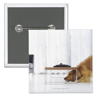 Dog and table 2 inch square button