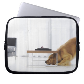 Dog and table laptop sleeve