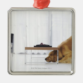 Dog and table metal ornament