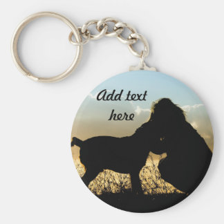 Dog and Woman in Sunset Basic Round Button Keychain