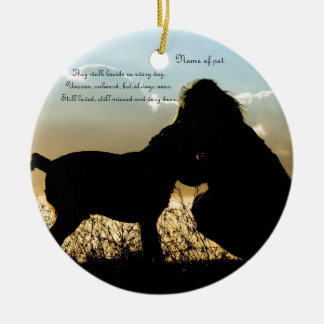 Dog and Woman in Sunset Ceramic Ornament
