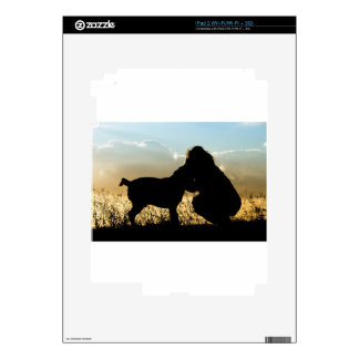 Dog and Woman in Sunset Decal For The iPad 2