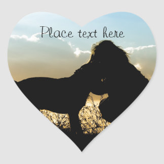Dog and Woman in Sunset Heart Sticker