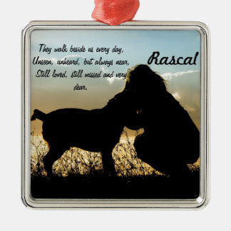 Dog and Woman in Sunset Metal Ornament