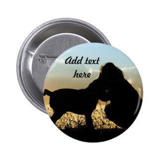 Dog and Woman in Sunset Pinback Button