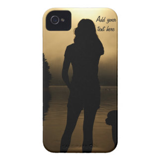Dog and Woman Lake Silhouette iPhone 4 Case-Mate Case