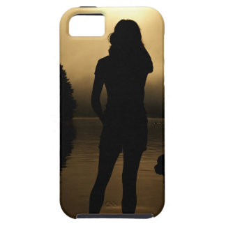 Dog and Woman Lake Silhouette iPhone SE/5/5s Case