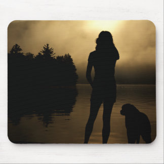 Dog and Woman Lake Silhouette Mouse Pad