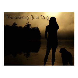 Dog and Woman Lake Silhouette Postcard