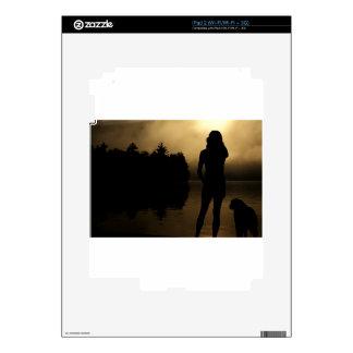 Dog and Woman Lake Silhouette Skins For iPad 2