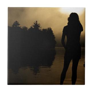 Dog and Woman Lake Silhouette Tile
