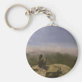 Dog and Woman on a Rocky Bluff Basic Round Button Keychain