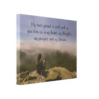 Dog and Woman on a Rocky Bluff Canvas Print