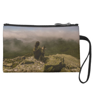 Dog and Woman on a Rocky Bluff Suede Wristlet Wallet
