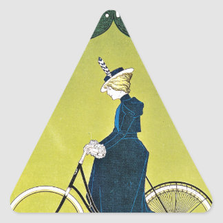 Dog and Woman Riding Bicycle Triangle Sticker