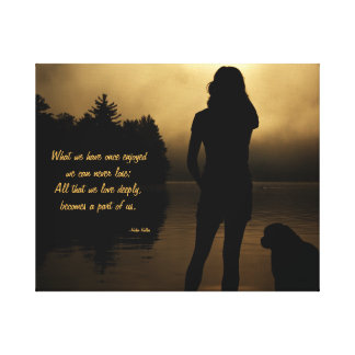 Dog and Woman Sunset Silhouette Canvas Print