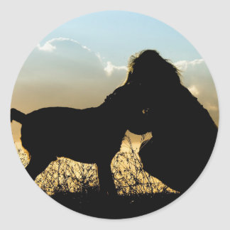 Dog and Woman Sunset Silhouette Classic Round Sticker