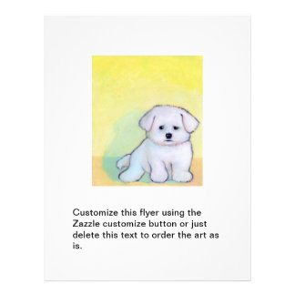 Dog art drawing cute little white maltese puppy personalized flyer