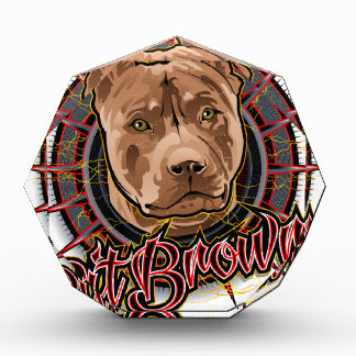 dog art radical pit bull brown and red award