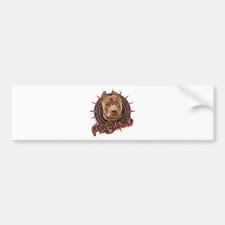 dog art radical pit bull brown and red car bumper sticker