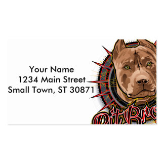 dog art radical pit  bull brown and red Double-Sided standard business cards (Pack of 100)
