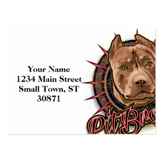 dog art radical pit  bull brown and red large business cards (Pack of 100)
