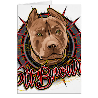 dog art radical pit bull brown and red card