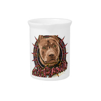 dog art radical pit bull brown and red drink pitchers