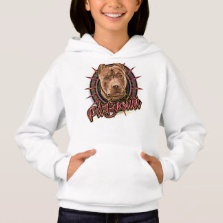 dog art radical pit bull brown and red hoodie