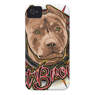 dog art radical pit bull brown and red iPhone 4 Case-Mate case
