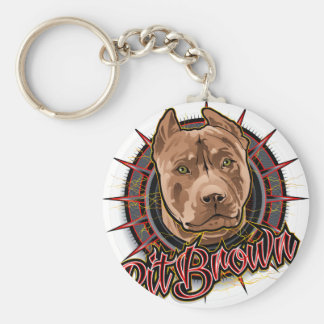 dog art radical pit bull brown and red keychain