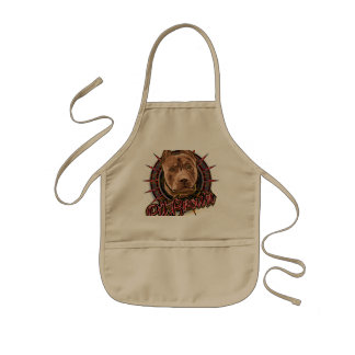 dog art radical pit bull brown and red kids' apron