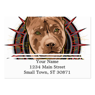 dog art radical pit bull brown and red large business card