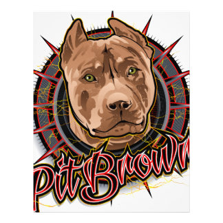 dog art radical pit bull brown and red letterhead