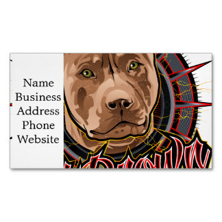dog art radical pit bull brown and red magnetic business card