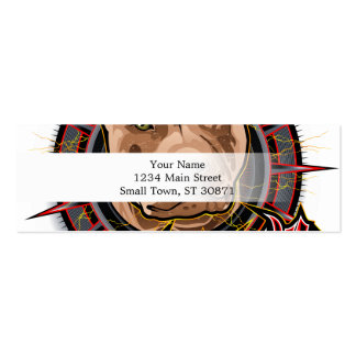 dog art radical pit bull brown and red mini business card