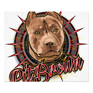 dog art radical pit bull brown and red photo print