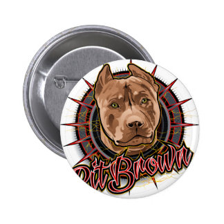 dog art radical pit bull brown and red pinback button