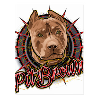 dog art radical pit bull brown and red postcard