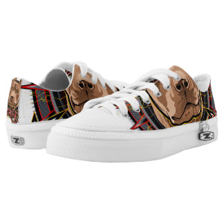 dog art radical pit bull brown and red printed shoes