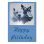 Dog Art:  Scottie & Westie Birthday Card Greeting Card