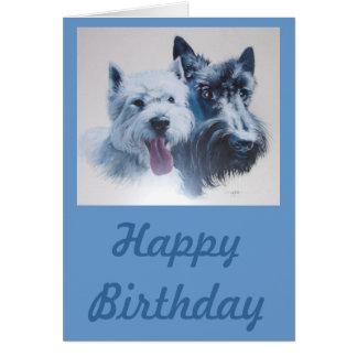 Dog Art:  Scottie & Westie Birthday Card Greeting Card