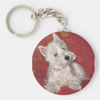 Dog Art: the Westie Basic Round Button Keychain