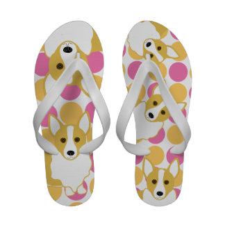Dog Art! Welsh Pembroke Corgi Sandalei Flip Flops