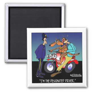 Dog As Designated Driver 2 Inch Square Magnet