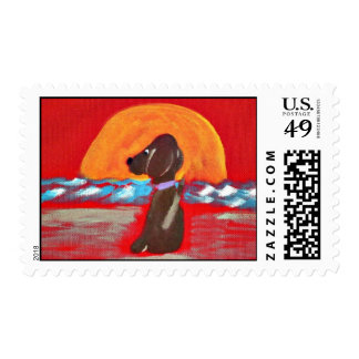 dog at sunset postage stamps