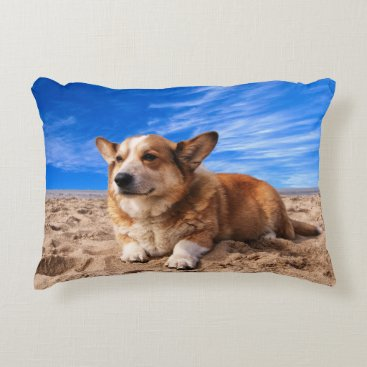 Beach Themed Dog at the beach accent pillow