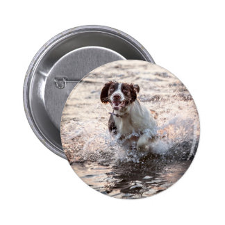 Dog At The Beach Button Badge