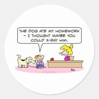 dog ate homework x-ray round sticker