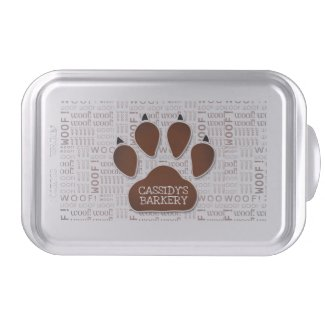 Dog Bakery in Brown Paw Print with Business Name Cake Pan